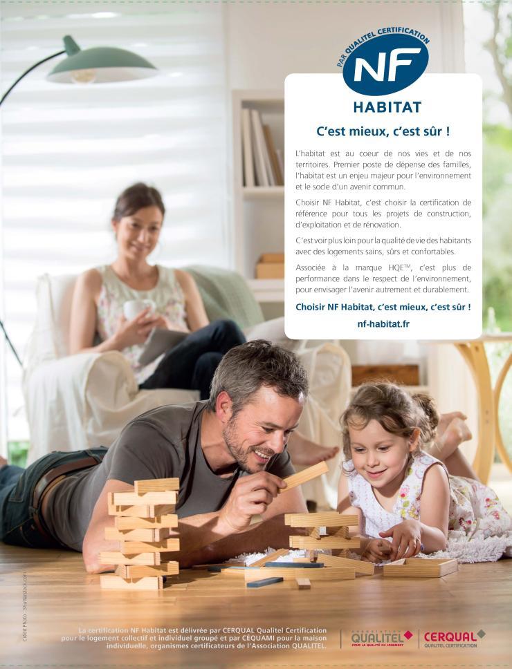 Page de publicité pour NF Habitat, certifcation Qulitel