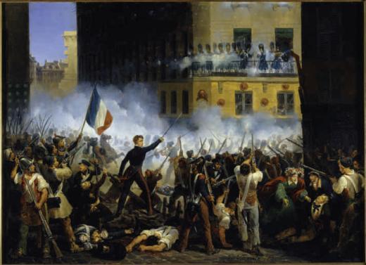 Tableau de Lecomte Hippolyte (1781-1857). Combat de la rue de Rohan,