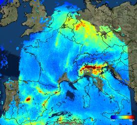 Pollution au dioxyde d'azote sur l'Europe, mesurée par Sentinel-5P