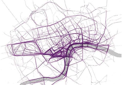 Carte de Londres établie par Nathan Yau, en utilisant l'application de course à pied RunKeeper.