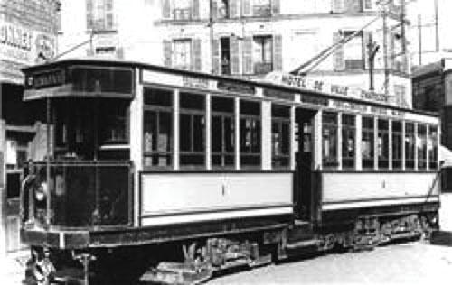 Le tramway électrique à Paris en 1921.