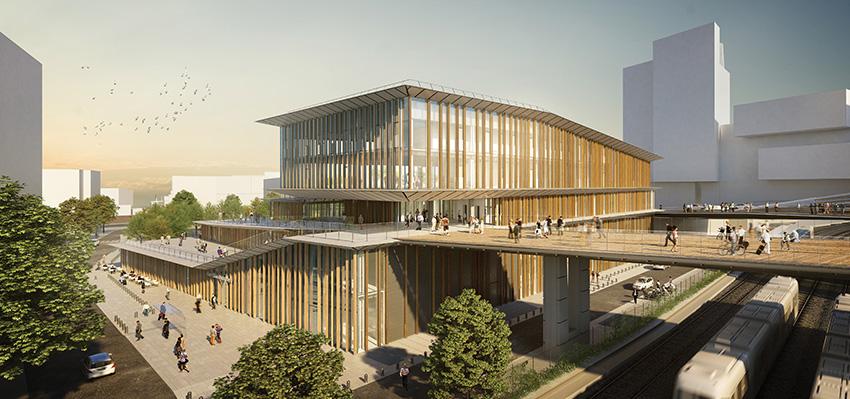 Perspective de la gare Saint-Denis Pleyel dans le cadre du projet Grand Paris Express