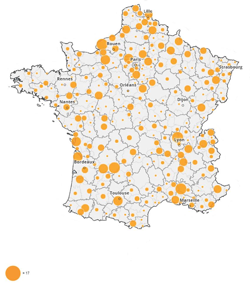Carte représentant le nombre de blocages par zone d'emploi.