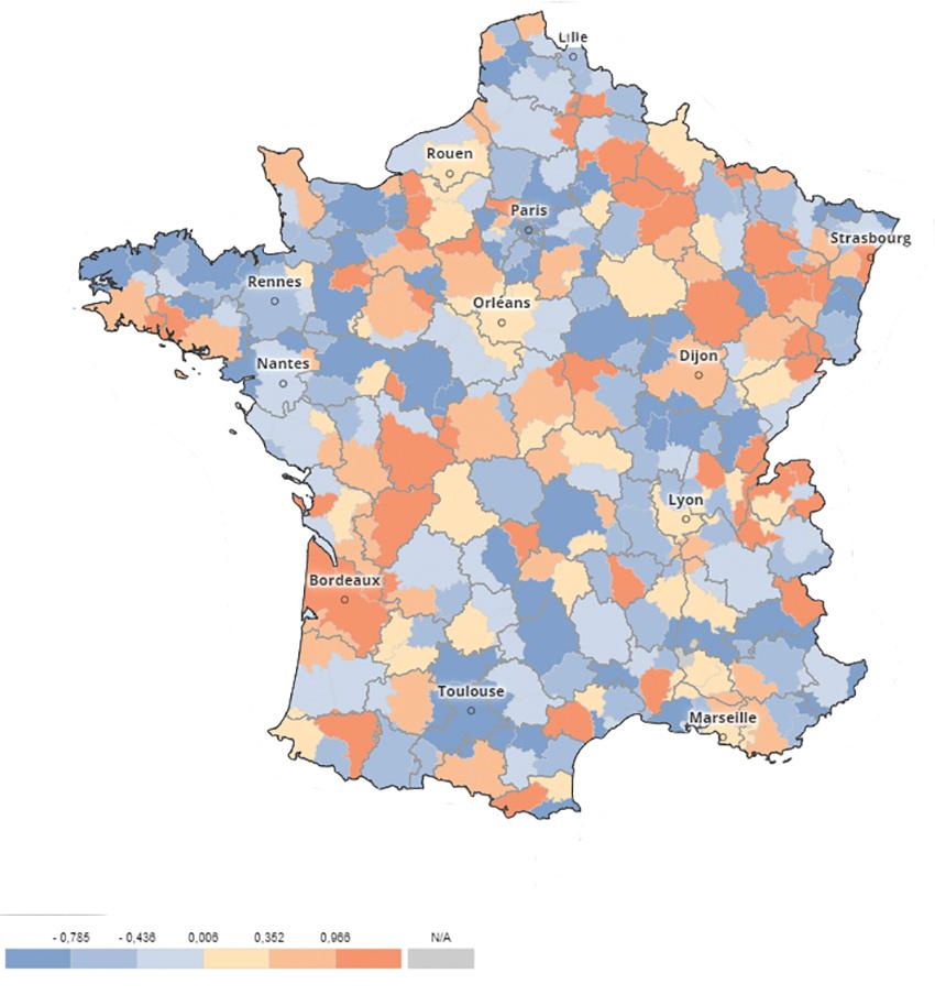 Carte représentant le nombre de blocages rapporté au nombre d'habitants par zone d'emploi.