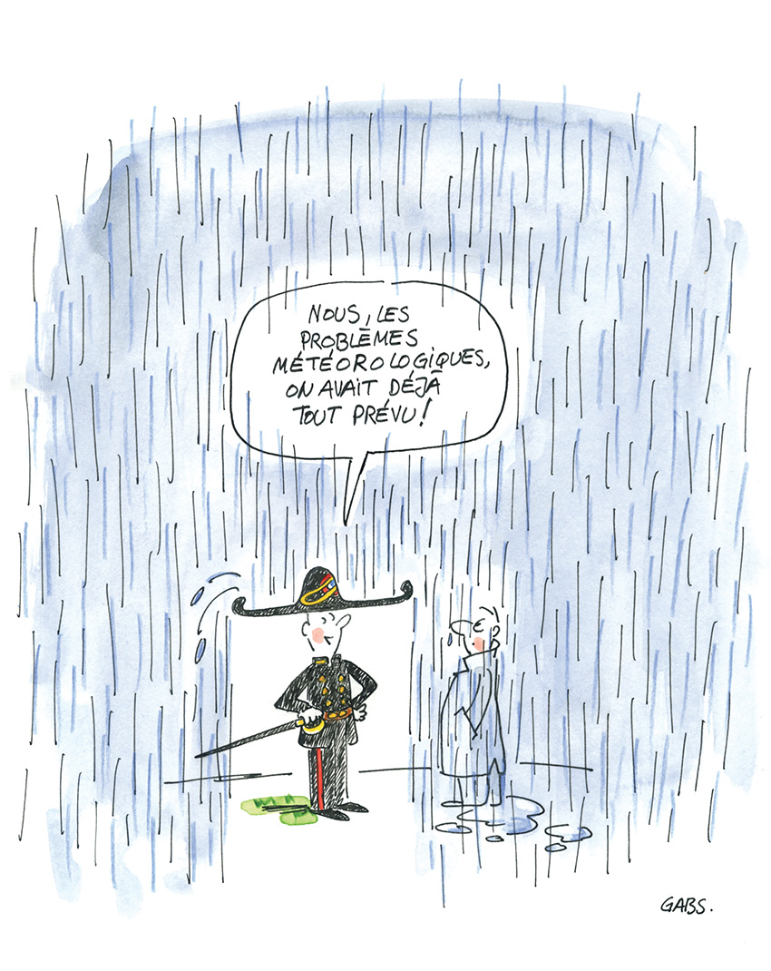 """Dessin de Gabs : un polytechnicien sous la pluie est protégé par son bicorne et explique à un passant : """"Nous, les problèmes météorologiques, on avait déjà tout prévu !"""""""
