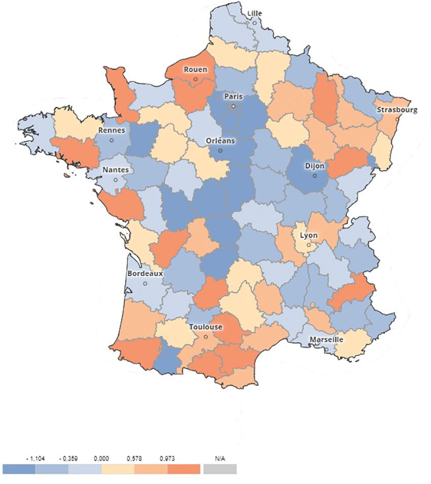 Carte de France représentant le nombre de groupes Facebook rapporté au nombre d'habitants du département.