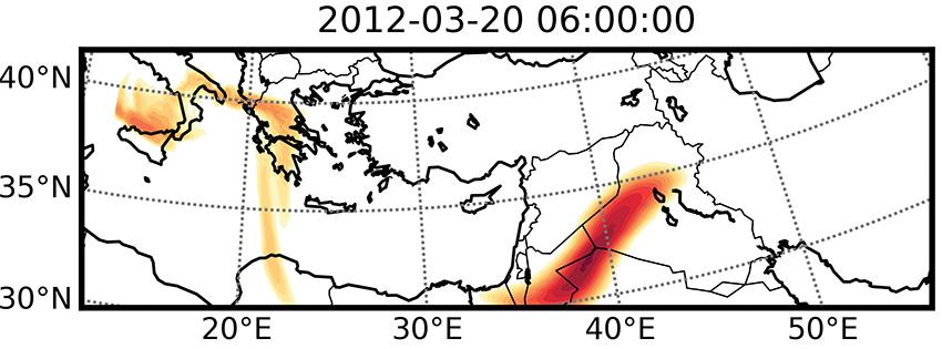 Simulation du panache de SO2 issu de l'éruption de l'Etnadu 18 mars 2012