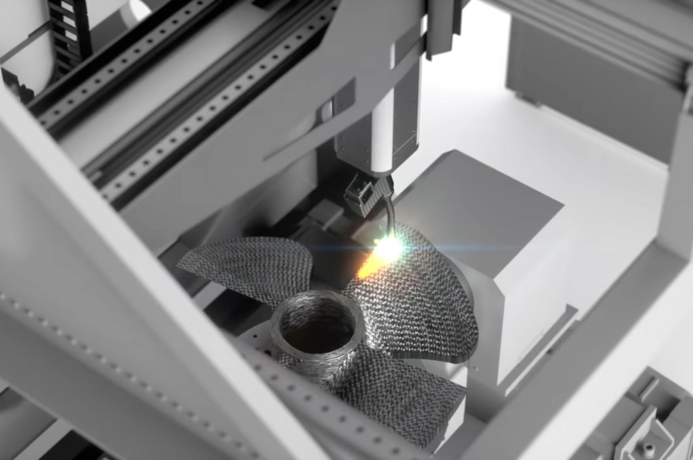 hélice en cours de fabrication sur une machine Gefertec.
