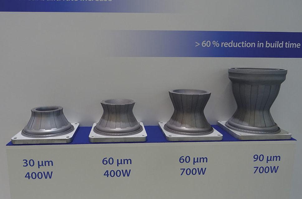 Suivant la puissance du laser et la taille des poudres, on peut avoir un gain de 60 % en temps de construction des pièces.