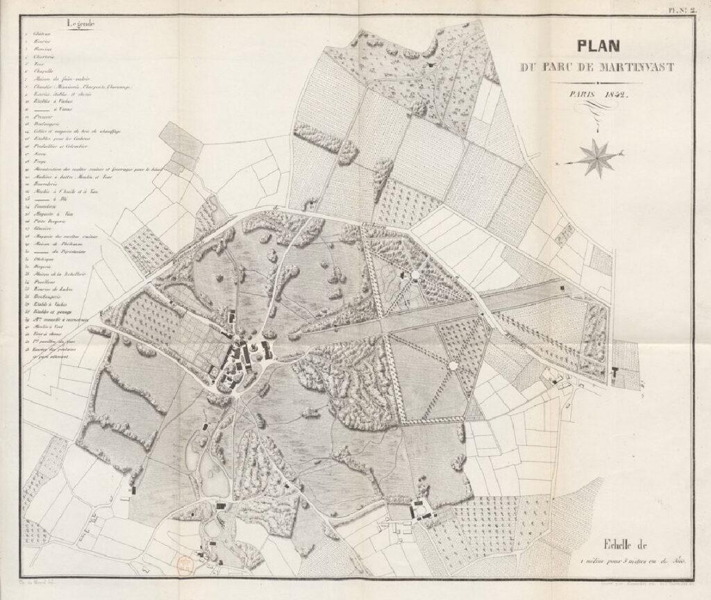 Plan du parc de Martinvast en 1842, extrait de l'ouvrage Notice sur l'exploitation rurale de Martinvast, près Cherbourg par Alexandre du Moncel.