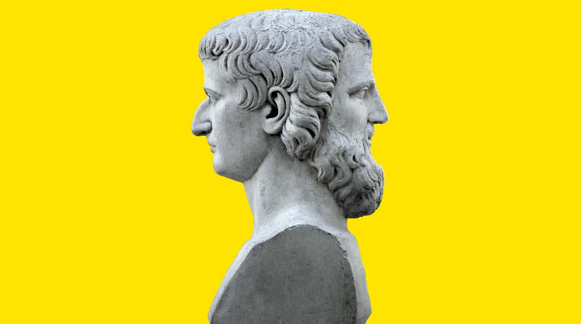 Statue de Janus qui comme l'Europe est entre deux