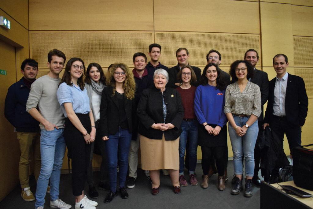 Rencontre avec la ministre chargée de la Cohésion des territoires, Jacqueline Gourault, lors d'une conférence organisée à Sciences Po.