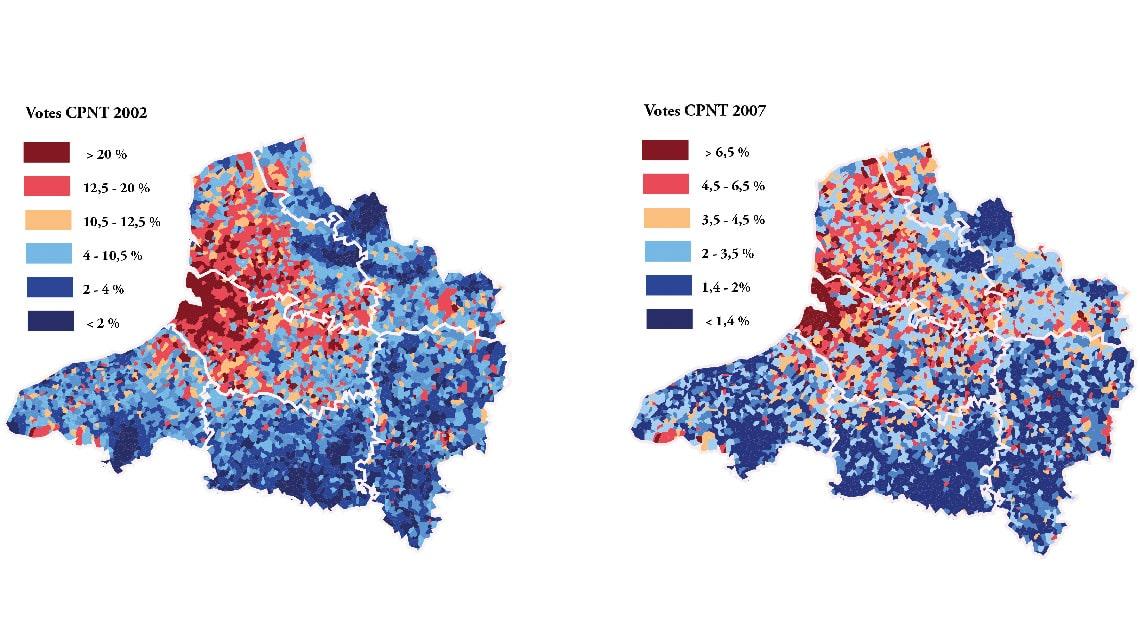 diversité territoriale française vue par le vote CPNT entre 2002 et 2007
