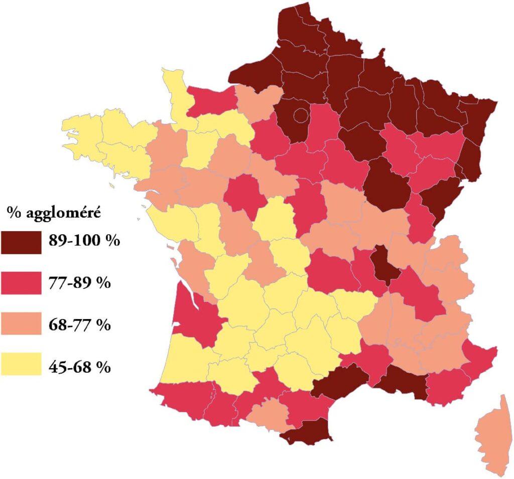 Diversité territoriale de la population vivant en agglomération (quelle que soit sa taille) en 1982.
