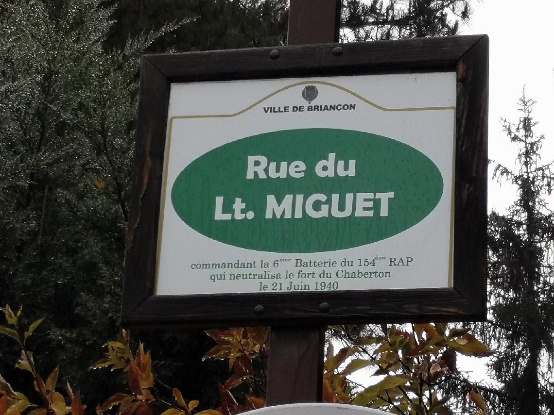 Rue du lieutenant Miguet qui neutralisa le fort du Chabreton