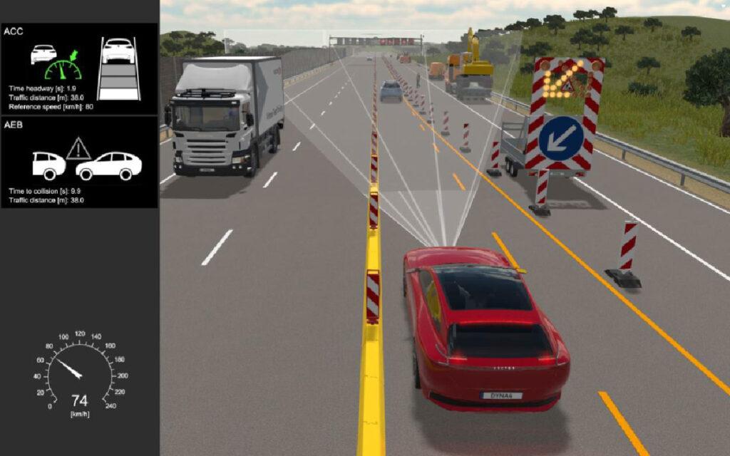 Figure 2 : Visualisation d'un essai de conduite virtuelle pour tester les fonctions de l'ACC et de l'AEB dans le trafic environnant.