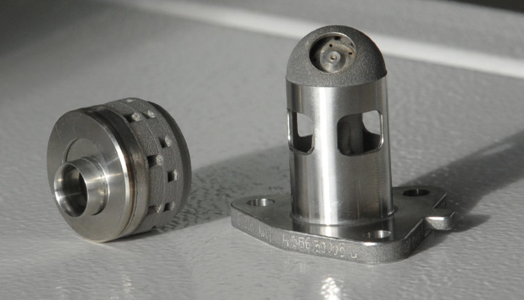 Injecteur de carburant du moteur Arrano réalisé en fabrication additive (procédé de fusion laser). La fabrication additive permet de mutualiser des fonctions entrainant des formes complexes non réalisables par des procédés conventionnels.