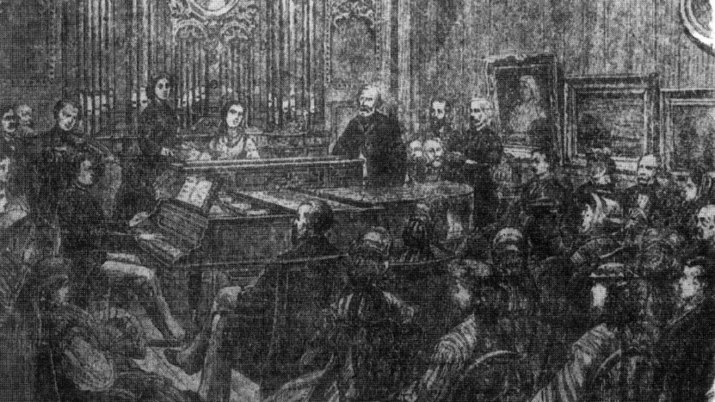 Orgue de Pauline Viardot à Baden-Baden, gravure parue dans L. Bietsch, Eine Matinée in der Villa, Der Bazar n° 11, 8 décembre 1865, p. 401